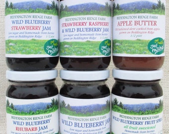6 jar homemade jam variety package/6 jar jam variety pack/jam assortment/low sugar jams/6 homemade berry jams/ mixed berry jams/box of jams