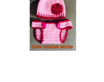Crochet baby Hat and diaper cover, Baby girl Flower Hat,Newborn hat&diaper cover Diaper cover handmade, newborn to 12 months size,photo prop