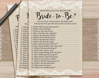 Rustic Lace Burlap Bridal Shower How Well Do You Know the Bride To Be Game - Printable Bridal Shower - Who Knows the Bride Best? 016
