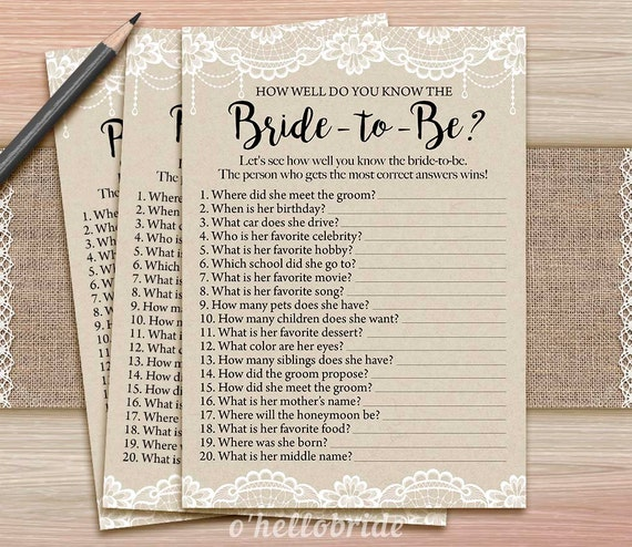 Rustic Lace Burlap Bridal Shower How Well Do You Know The