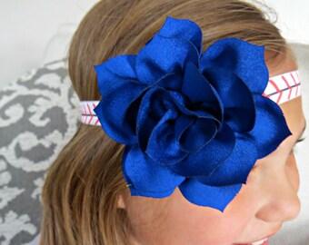 CLEARANCE!!! Baseball Baby Headband, Blue Flower Headband, Infant Headband, Summer Headband