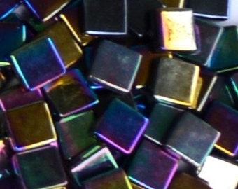 12mm - Carbon Black (#149) - Iridescent - Kismet Mosaic Glass