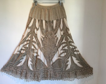 Vtg 70s cotton and linen crochet avant garde boho maxi skirt