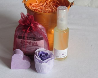 gift small cube with bath salts and massage oil