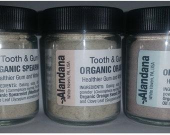 Alandana TOOTH POWDER ORGANIC Orange Peppermint Spearmint Essential Oils Clove E.O. Salt Baking Soda Bentonite Myrrh Pink Himalayan Salt