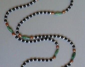 Swarvoski black pearl and Miyuki seed bead necklace