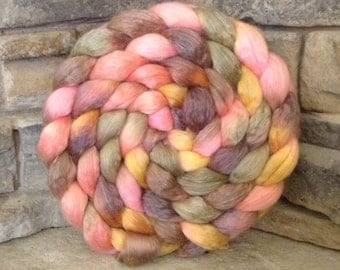 50/50 Merino/Tencel Combed Top Spinning Fiber - Hand Painted - Feltable - approx. 4 ounces - ENGLISH COTTAGE