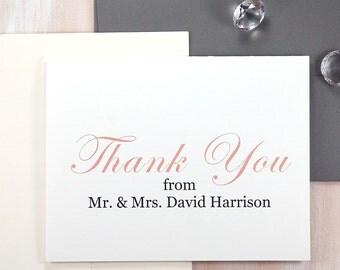 Wedding Thank You Cards, Personalized Stationery Set, Wedding Stationary, Gift for Newlyweds, Gratitude Cards, Set of 10