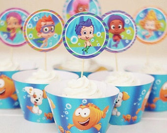 Bubble Guppies Cupcake Wrappers and Toppers-Set of 12