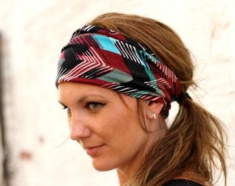 Ethnic Print Headband/ Wide Headband/ Womens Headband/ Yoga Headband/ Boho Headband/ Running Headband/ Womens Hair Accessories