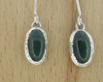 925 Sterling Silver Earrings -with   Green   aventurine   Stone