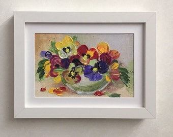The Garden Pansy, Small Canvas Art, Painting on Canvas, Hand Painted