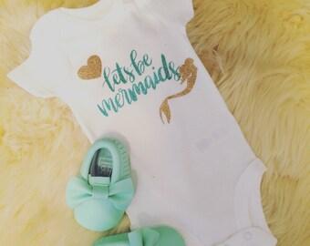 Custom newborn onesie personalized lets be mermaid