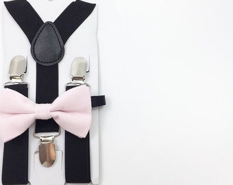Black Y-Back Suspender and light pink bow tie set Kids Photoprop Wedding Accessories Boys