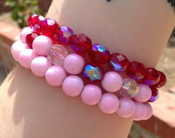 Strawberry Sherbet Colored Bracelet Set