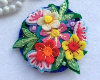 Flower Garden - Handmade Felt Brooch