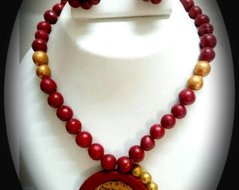 Terracotta necklace and matching earrings