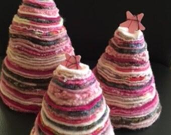 Trio of Pink Wool Trees