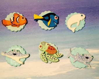 Under the sea themed cupcake toppers. 12 ct.