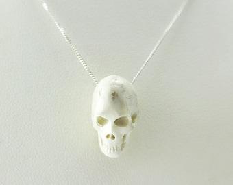 Sterling Silver Bone Skull Necklace
