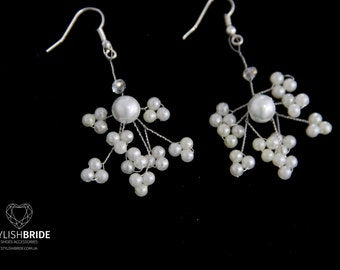 Pearl earrings, Silver Pearl earrings, wedding handmade earrings, Handmade Pearl earrings, Jewelry earrings, Handmade jewelry, Wire earrings