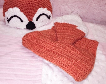 Knit Crochet Handmade Cute Fox Baby Girl 2 pieces Hat+Cloth 3-6month, any older we can customized