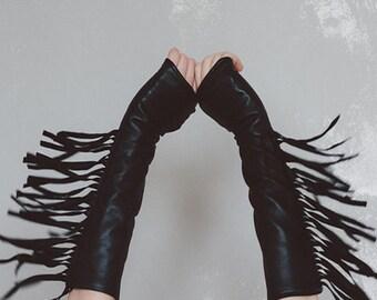 Fringe Elbow Length Leather Fingerless Gloves