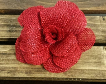 Red Burlap Rose, Red Burlap, Burlap Flowers, Country Wedding Decor, Burlap Decor, Burlap Wedding Flowers, Baby Shower Decor