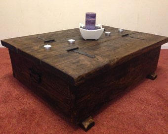 Storage box blanket chest shoes toy rustic chunky bespoke trunk handles