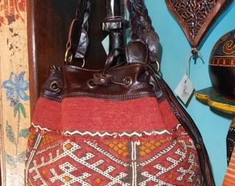 Bag leather and carpet Berber vintage