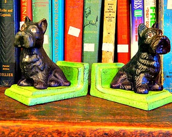 Bookends Pair of Cast Iron Black Scotties with Green Bases