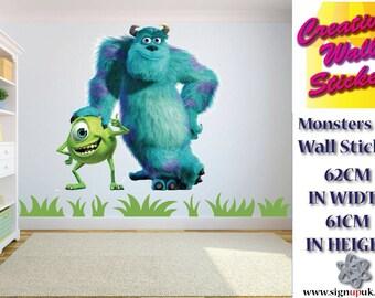 MONSTERS UNIVERSITY wall sticker Children's bedroom large Sully & Mike Wazowski. w61cm x h62cm