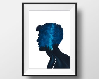 Aquarelle Painting, Dreamer 2, FINE ART PRINT, Blue, Mixed Media, Silhouette, Galaxy