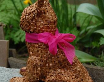 Cedar Bark Bunny  Easter bunny  Nature rabbit   Ribbon rabbit