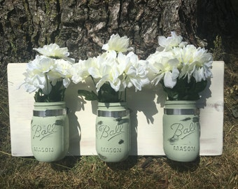 Distressed Mason jar wall sconce, light green Mason jars, Mason jar wall decor