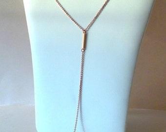Bar Drop Necklace , Rose Gold Necklace , Y necklace .