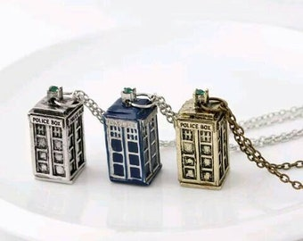 DOCTOR WHO NECKLACE Retro Style Dr Who Tardis Necklace Police Box Jewelry - Choice of 3 Colours - Blue Gold or Silver Dr Who Necklace Retro