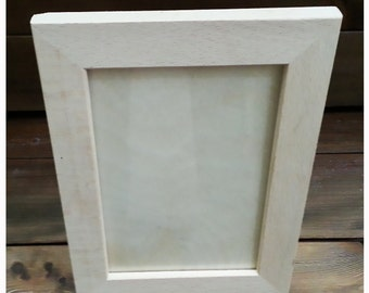 Natural wood photo frame photo frame with glass and ideal for paint decoupage or more dim. 22x17 cm (8, 7x6, 7inch)