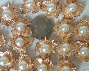 Alloy Gold Leaf charms  with pearl