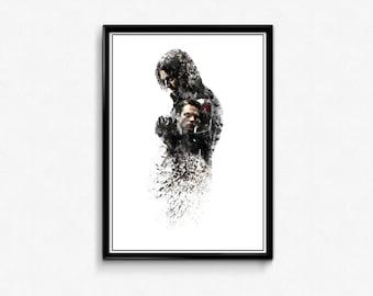 Winter Soldier Sebastian Stan Ink-Blot Digital Print Home Decor Marvel Hanging Comic Captain America Avengers Poster Gifts Art Comic Book