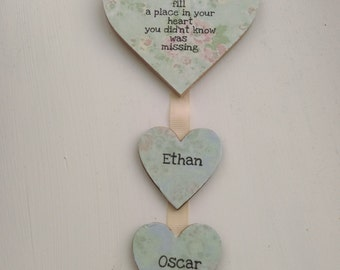 Personalised gift for grandma, Gift for nana, Gift for her, shabby chic home decor, Grandchildren, hanging heart, hanging heart plaque, love