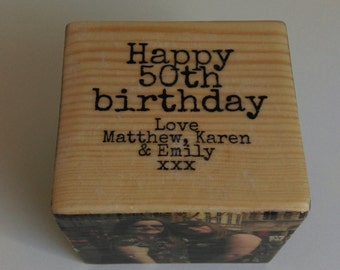 Personalised distressed photo cube, personalised gift, birthday gift, gift for him, gift for her, anniversary gift, photo gift, wooden cube