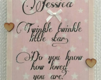 Personalised baby gift, christening gift, New baby gift, gift for her, baby girl, nursery decor, home decor, girls bedroom, twinkle twinkle