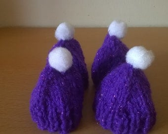 Egg Warmers: Lovely purple, hand knitted egg warmers