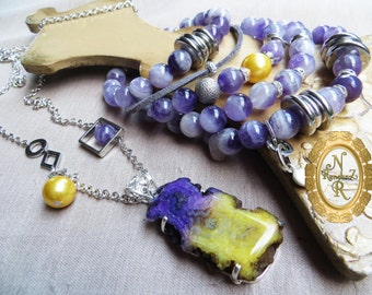 "Jewellery set ""Sunny Wind"" Bracelet and a pendant."
