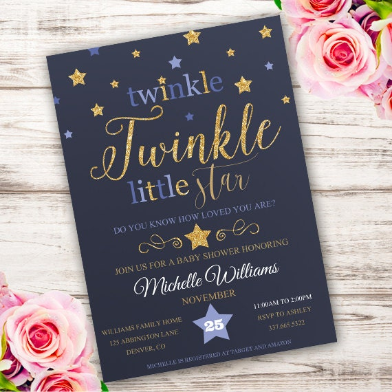 It is a picture of Sizzling Free Printable Twinkle Twinkle Little Star Baby Shower Invitations
