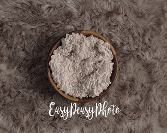 DIGITAL Prop Backdrop - Wooden Bowl on Faux Fur Rug Photography Background for Newborn Baby - Download Prop Backdrop Background