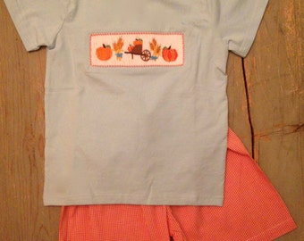Smocked pumpkins shorts set, 3t