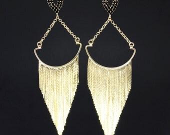 Maxi Fringe Drops - Statement Earrings - Gold Earrings