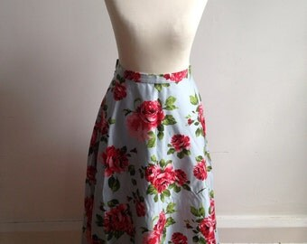 1950s rose skirt blue